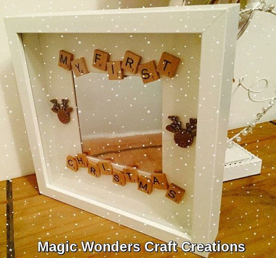 First Christmas Frame, Personalised First Christmas Scrabble Frame, XMAS Wall…