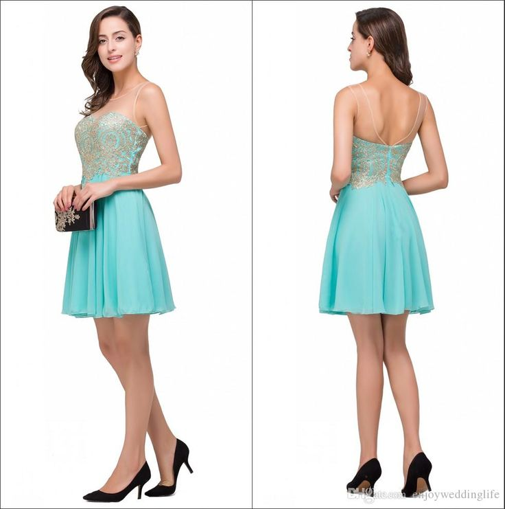 2016 New Hunter Illusion Chiffon Homecoming Dresses Lace Applique Beaded Crystals Short Party Cocktail Prom Dresses Cps357 High School Homecoming Dresses Homecoming Dress Ideas From Enjoyweddinglife, $75.38| Dhgate.Com