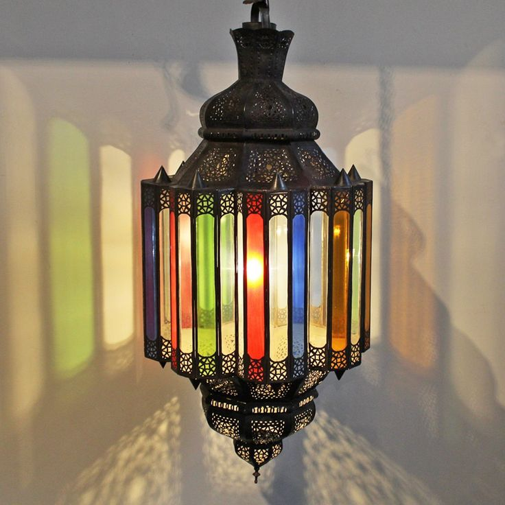 Shop our lights at Mix Furniture!  large bronze work Moroccan chandelier with multi colored stained glass panels.