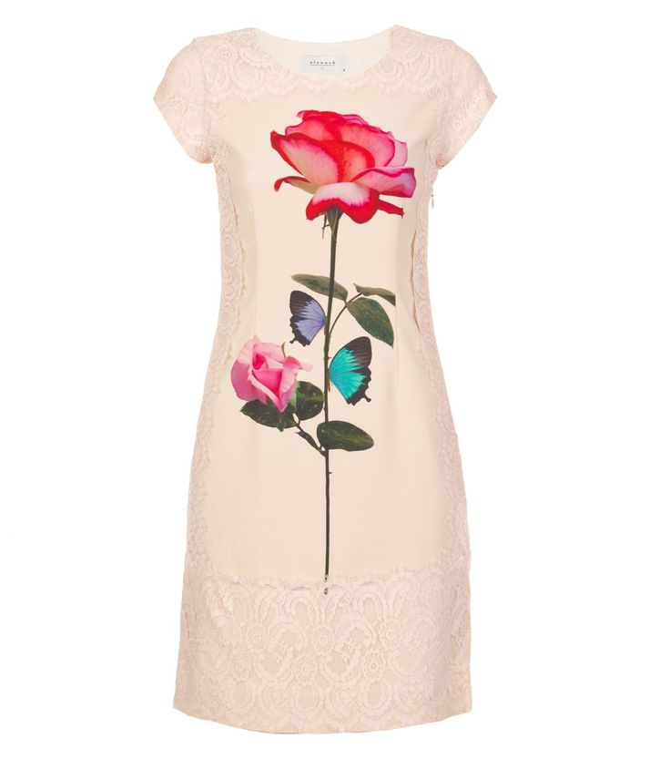 Alannah Hill - Weekend In Paris Dress- The Weekend In Paris Dress is fabricated from a rayon-spandex crepe, which has been printed with an exclusive Alannah Hill placement print on the centre front body. This dress fits closely to the body, features a round front neckline, short sleeves and sits above the knee in length. It is beautifully detailed with an intricate scallop and eyelash lace trim on the dress' sleeves, neckline and side body.