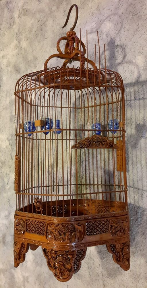 CHINESE WOODEN BIRD CAGE WITH PORCELAIN BOWLS carved ORNAMENTS WOOD CARVINGS
