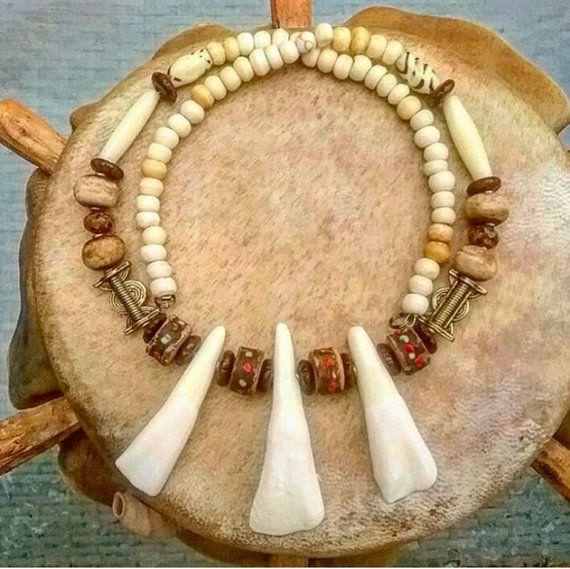 Mens/unisex tribal buffalo teeth necklacd by AngelsJewelleryOz
