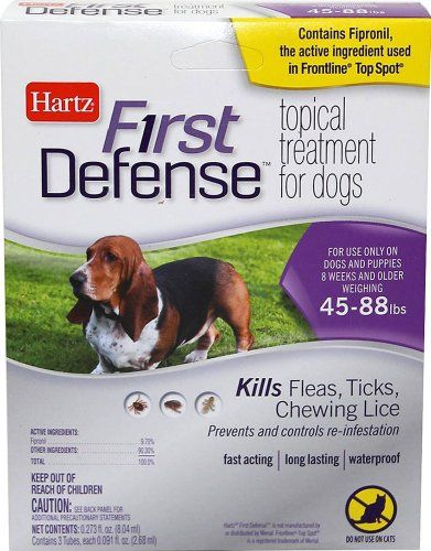 From the Manufacturer: Hartz First Defense Topical Treatment for Dogs 45-88 lbs kills Fleas Ticks and Chewing Lice as well as prevents and controls re-infestations. Fast acting long lasting waterp...