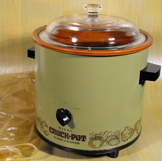 1970s Rival avocado green crock pot - liners weren't removable.  I still have this and it still works great