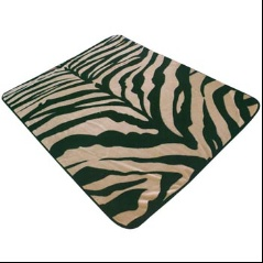 ELTO Zebra Skin Black Tan 1053 Korean Mink Queen Blanket