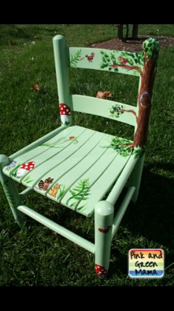 Hand painted Forrest, mushroom & tree chair idea for the kids. I could easily make something similar to this.