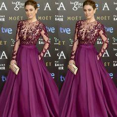 latest red carpet fashions | Goya Cinema Awards 2015 Red Carpet Long Sleeve Celebrity Dresses 2015 ...