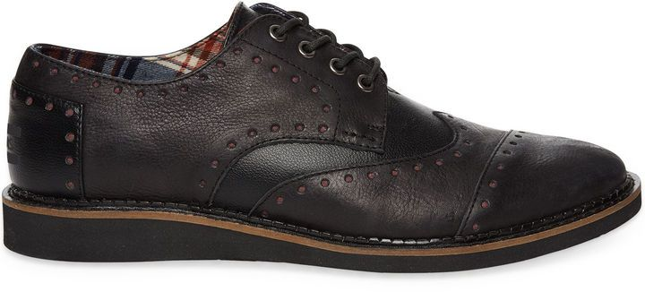 $124, Brown Leather Brogues by Toms. Sold by TOMS Shoes. Click for more info: http://lookastic.com/men/shop_items/135853/redirect