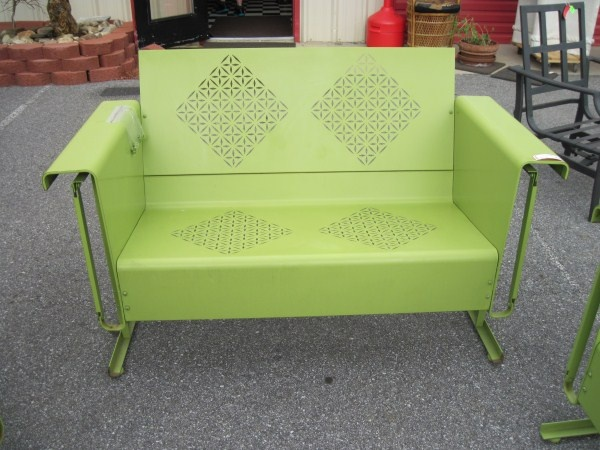 Retro Green Metal Love Seat/ Glider Rocker Outdoor Furniture | Metal Porch  Furniture | Pinterest | Gliders, Rockers And Metals