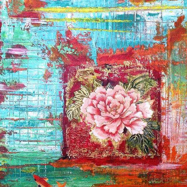 """Japanese garden"" (detail) mixed media painting 60x40 cm #ifigenia_christodoulidou #mixedmedia #painting #art #acrylic #flower #japanese #koi #koifish"