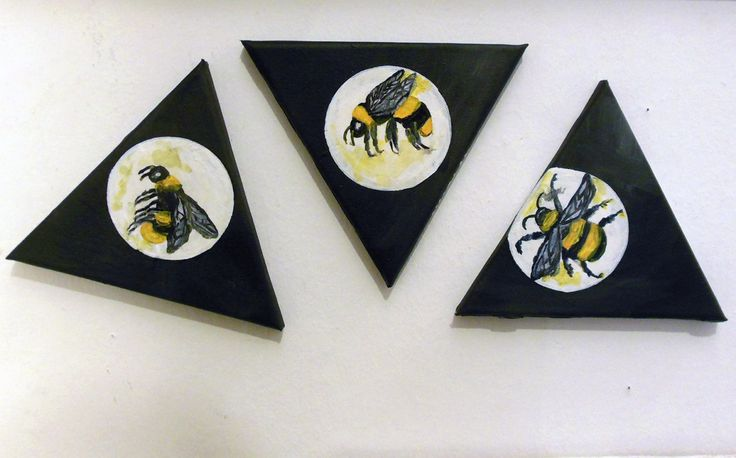 Set of 3 Triangular Canvas Original Paintings Modern - Bumblebees in white bubbles - Acrylic on canvas, decoration set! by PapeMoe on Etsy