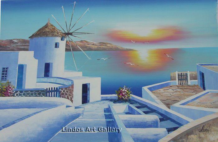 Greek Island Windmill Seaview Oil Painting