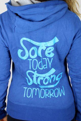 Sore Today Strong Tomorrow Skinny Zip Hoodie in Deep Sea