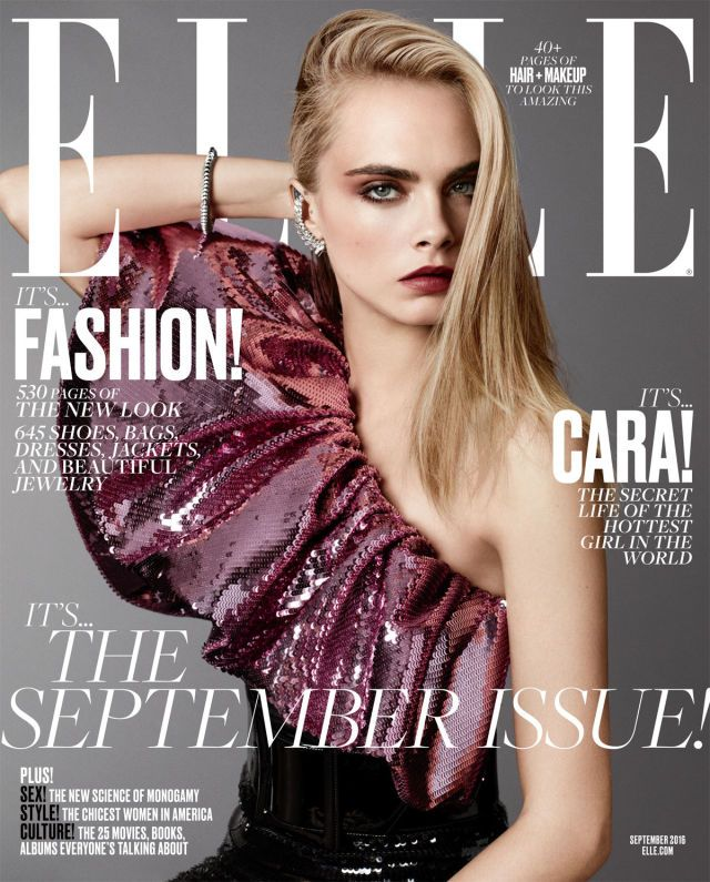 Cara Delevingne wearing a dress, earring, and belt by Saint Laurent. Bracelet by Cartier. Photographed by Terry Tsiolis.