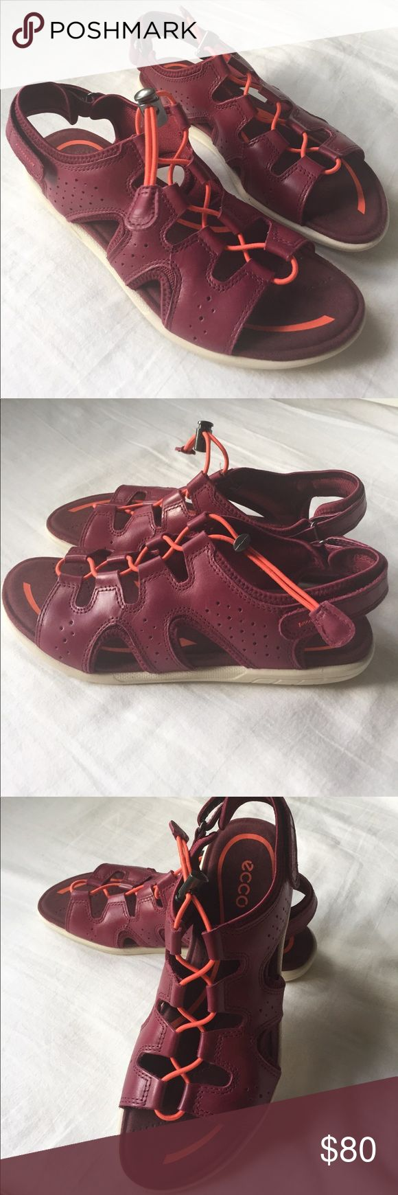 New ECCO Sandal New, ECCO Leather Sandal. Velcro strap in the back. Size 38. No Box. Never worn. Ecco Shoes Sandals