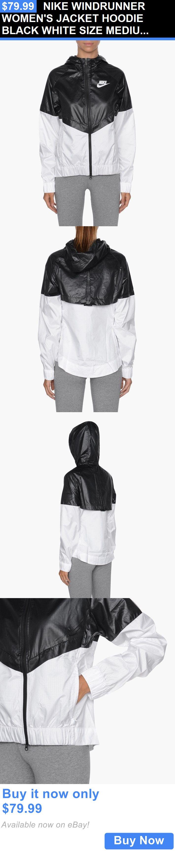 Women Athletics: Nike Windrunner Womens Jacket Hoodie Black White Size Medium 804947 010 BUY IT NOW ONLY: $79.99