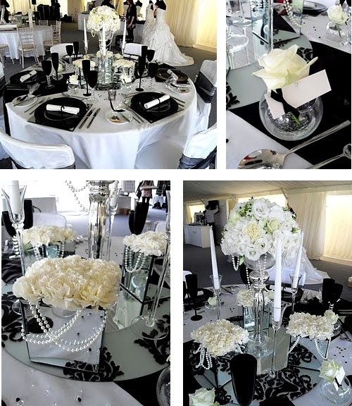 pink and white and gray wedding tables | Wedding ideas: black and white | Englis