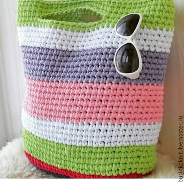 Купить Сумка пляжная - разноцветный, в полоску, сумка, пляжная мода, Вязание крючком, вязанные аксессуары