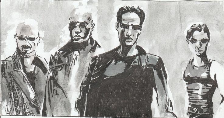 Matrix characters (pen and watercolour)