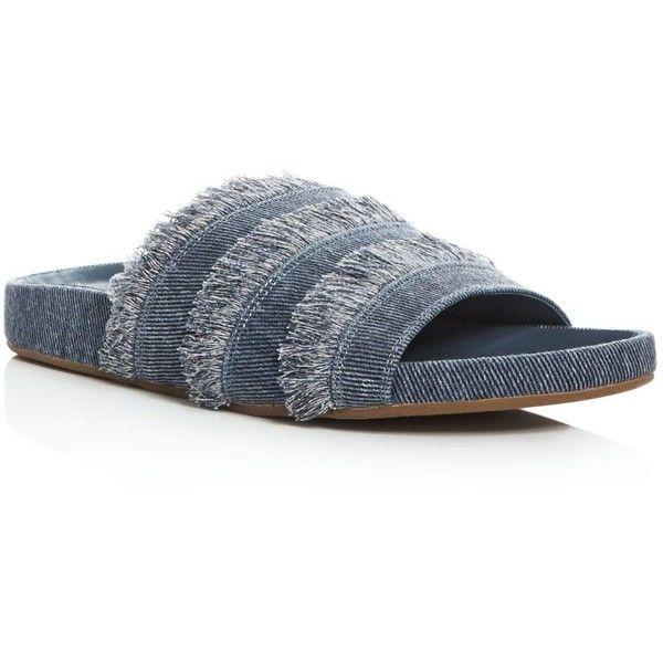 Joie Jaden Denim Pool Slide Sandals ($228) ❤ liked on Polyvore featuring shoes, sandals, dark denim, rubber sole shoes, joie sandals, joie shoes, joie and denim shoes