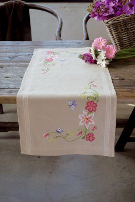 click here to view larger image of Pink Flowers and Butterflies Table Runner (counted cross stitch kit)