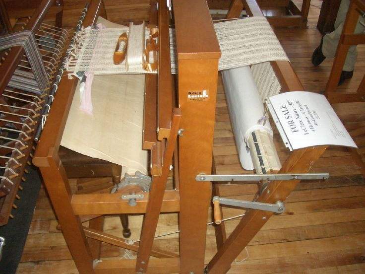 """4 shaft, 6 treadle, 45"""" Leclerc loom. This loom has an apron on the warp beam, but also comes with the attachments to make it a 2"""" sectional beam, spool rack & tension box.  Ready for a new or experienced weaver to get to work weaving anything from fine linens to rugs. This loom can be see in person at Baker Allegan Studios in Allegan, MI or many pictures on our web site. www.BakerAlleganStudios.com"""