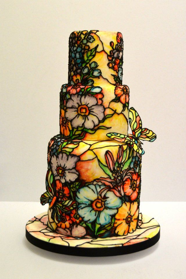 exquisite floral stained glass wedding cake