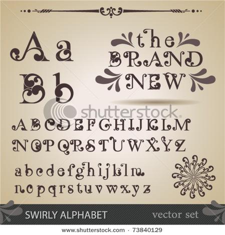 swirly writing alphabets