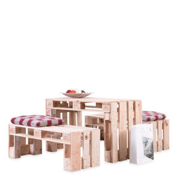 2 Bänke-1 Tisch aus Paletten / Palettenmöbel HERRMANN SET