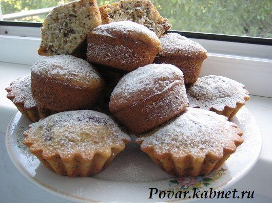 Кексы на кефире с орехами