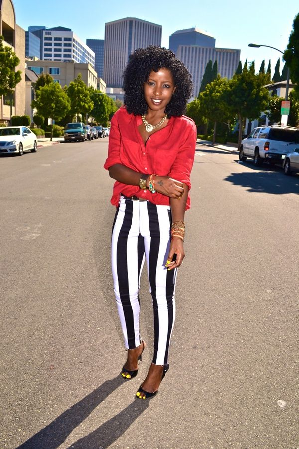 Style Pantry | Military Style Shirt + Black & White Striped Skinny Jeans