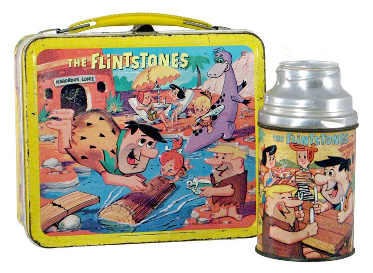 """Vintage """"Aladdin"""" lunch box from 1964. Aladdin is the maker. Of course this is the Flintstones"""