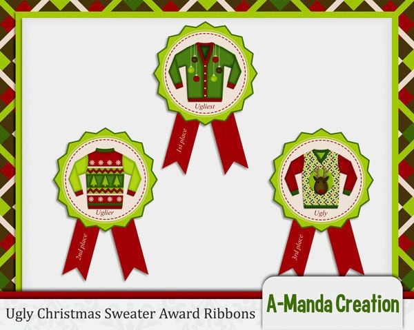 ugly christmas sweater party awards ribbons 1st by amandacreation   4 50