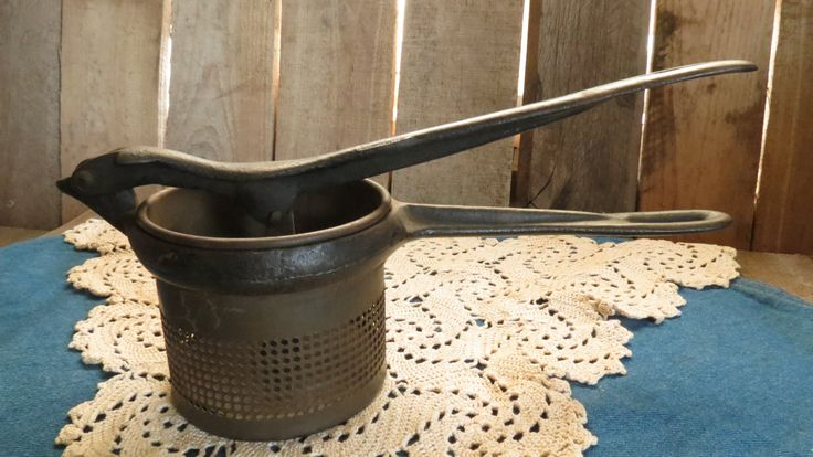Vintage Cast Iron Potato Ricer, Farmhouse, Country, Rustic, Kitchen by RileysVintageRelics on Etsy