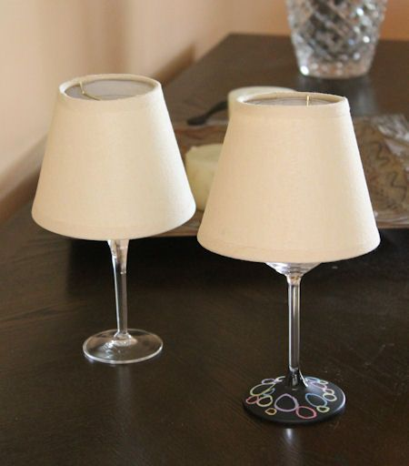 Wine glass lights this would be an awesome wedding for Wine glass lamp centerpiece