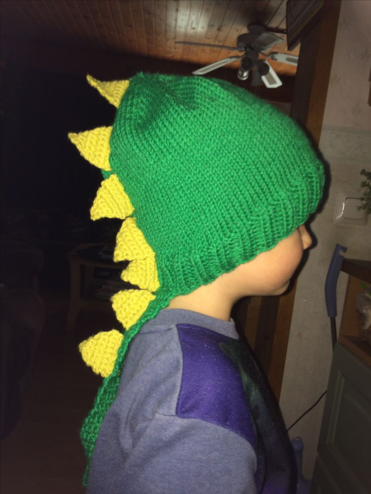 Dino hat to 5 year old boy
