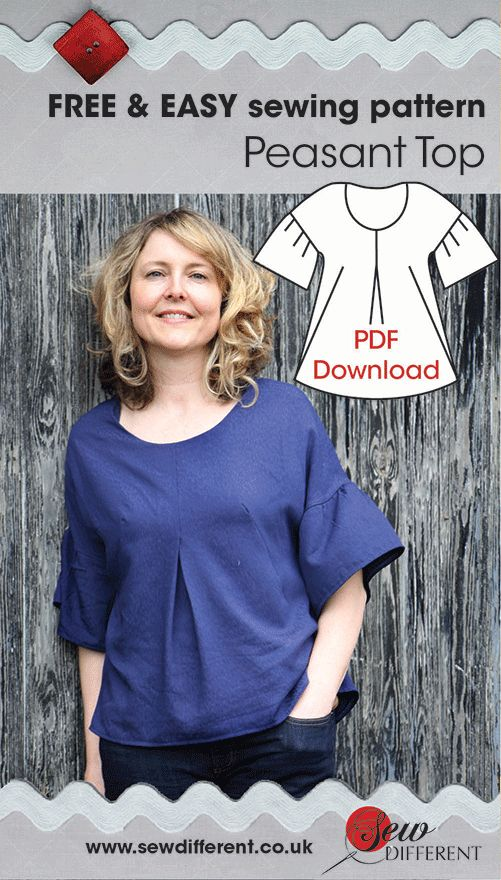 Free sewing pattern for women. Peasant top with downloadable PDF pattern and instructions. Easy to change the length to suit your shape. Make it in a couple of hours!. Love it!
