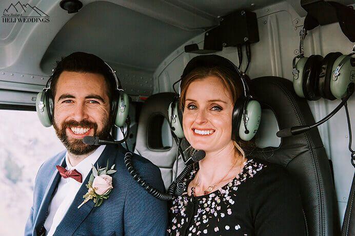 Helicopter shot of bride and Groom . Destination Heli weddings Queenstown New Zealand