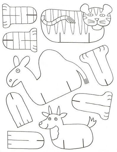tiger, camel, cow print on card stock color, cut out and put together.