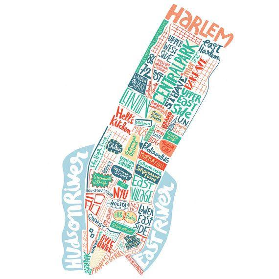 Carte de New York art du voyage cadeau pour voyageur par BnitoShop
