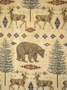 """Ottawa Sand -  Great North Outdoor theme soft chenille tapestry upholstery fabric. Durable 45% acrylic - 45% poly - 45% cotton. Great for upholstery, bench covers, bar stools, pillow fabric. RR Repeat; H 27"""" V 23"""". 54"""" wide"""