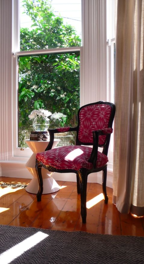 A sweet little Louis chair covered in Mitta Mitta in Winnie Pink.