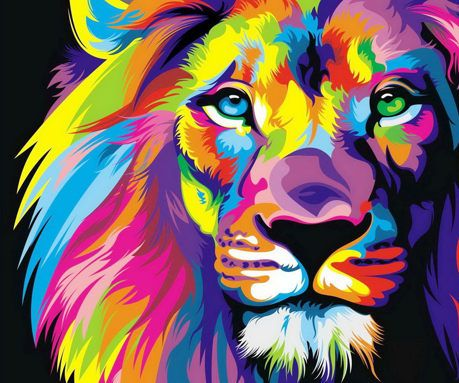 Colorful lion painting - photo#29