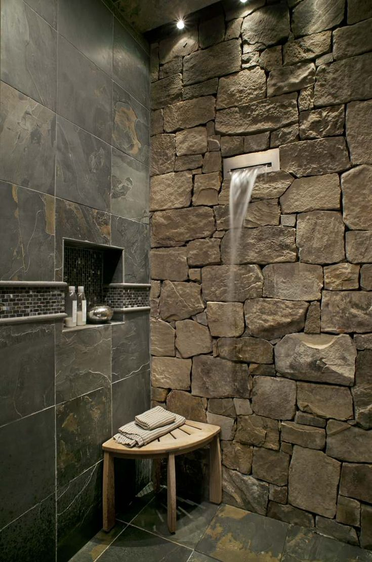 Bathroom Ideas  Slate Stone Tile And Stacked Stone With Waterfall Wallpaper