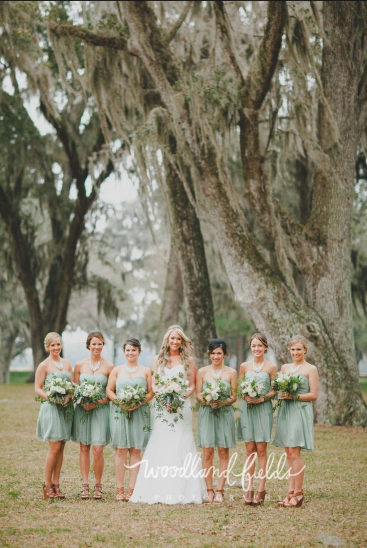 the bride and her bridesmaids in mint green dresses pose for a picture under the picturesque oak trees at Santa Fe River Ranch.
