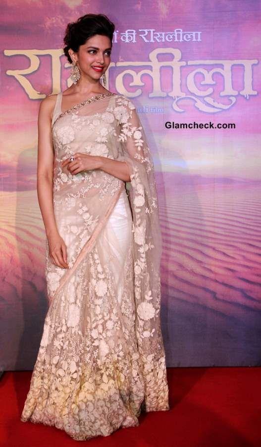 Deepika Padukone in Sari at 'Ram Leela' Trailer Launch