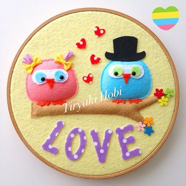 felt owl lovers / hoop art
