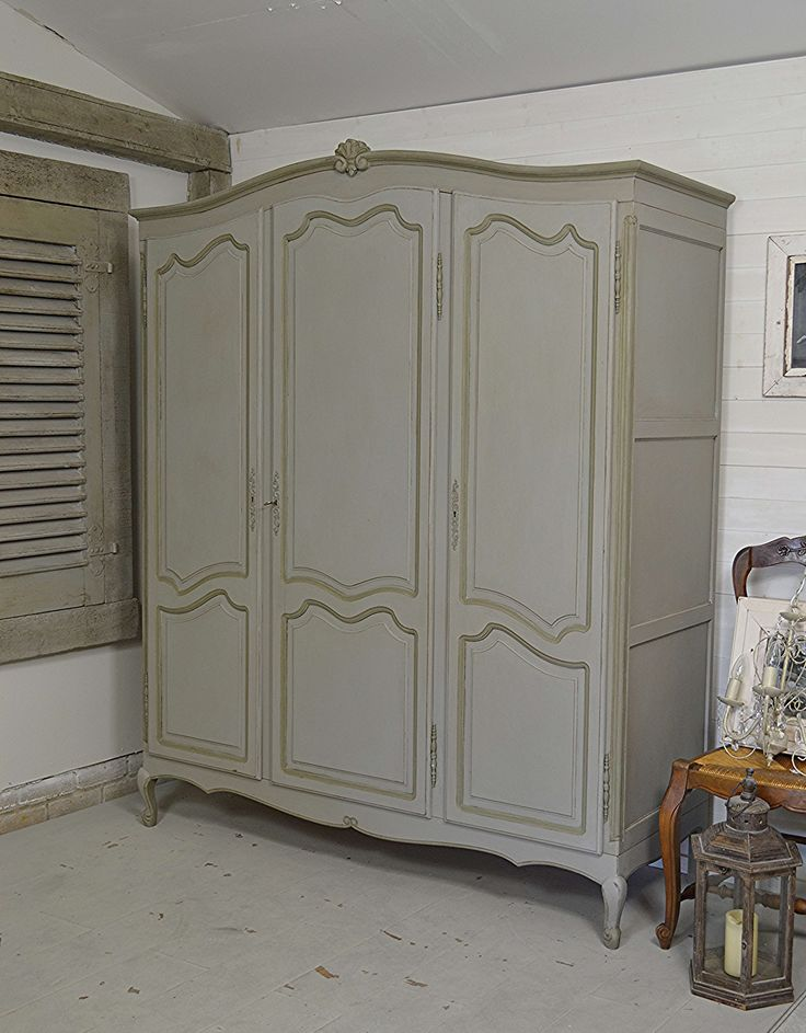 This fantastic 1950s French oak triple wardrobe is painted in Annie Sloan Paris…