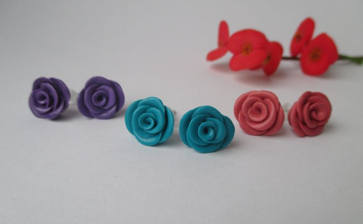 Adorable Rose Stud Earrings in 3 colors / Blue, Purple, Pink /  Fimo - Polymer Clay  buy here : https://www.etsy.com/shop/heymate
