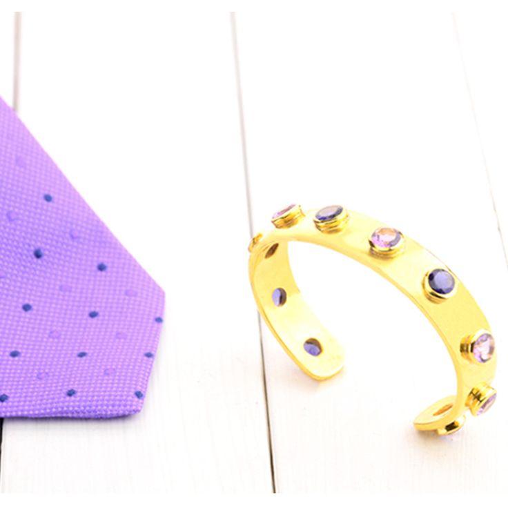 Cuff and Stone Men's Cuff. Gold Purple Amethyst Blue Iolite Row of Stone Cuff